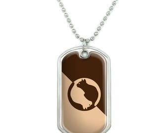 Cat Sitting Silhouette Military Dog Tag Pendant Necklace with Chain