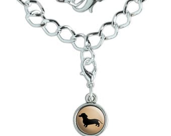 Dachshund Wiener Dog Silver Plated Bracelet with Antiqued Charm