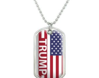 President trump american flag military dog tag pendant necklace with chain