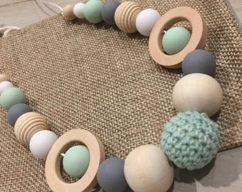 Natural Wood & BPA Free Silicone Nursing Sensory Tactile Quality Teething Necklace 80cm