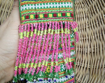 """Phone Mobile Neck Pouch Fringe, Small Summer Bag Purse, Crossbody, Recycled from Hmong's Fabric Handicraft, For phone 5.8"""" or Smaller"""
