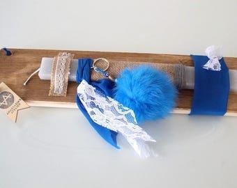 Greek Lambada for Girls, Blue Fluffy Keyring, Lambada for Woman, Faux Fur Pompom Keyring, Easter Candle For Godchild, Orthodox Easter