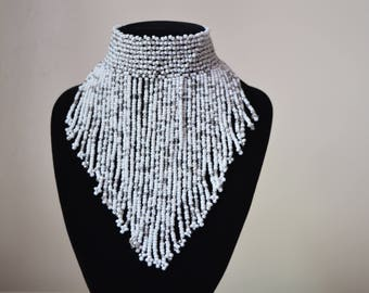 African Maasai Beaded Choker Necklace | African Jewelry | Tribal Necklace | White Necklace | Ethnic Jewelry| One size for all | Gift for Her