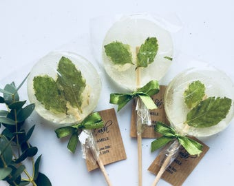 Greenery, rustic wedding favor, set of 3  white and green dried mint lollipops, round shaped sweet on wooden stick, suprise birthday gift