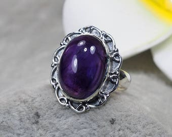 Natural Amethyst 925 Sterling Silver Ring, Genuine Ring, Birthday and holiday Gift, US Size 5 1/2 ,J407