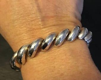ON SALE Vintage Italian Sterling Silver Swirl Link Bracelet Men's Women's