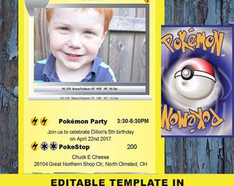 Pokemon, Pokemon birthday, Birthday Invitation, Pokemon card, Pokemon invite, Pokemon Party, Pokemon invitations, Pokemon template, pikachu