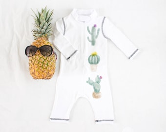 Cactus swimsuit, WHITE ,romper, swimwear,one-piece long sleeve with SPF 50+ UV protection, Comfortable and lightweight sunsuit, boho swimmer