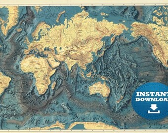 Digital old world map printable download vintage world map digital ocean world map printable download printable map large world map high resolution gumiabroncs Image collections