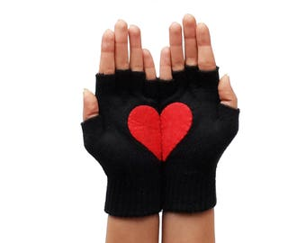 Red Heart Black Fingerless Gloves, Christmas Gift for Her or Him, Valentine's Gift, Special Gif Romantic Gloves, Romantic Gift