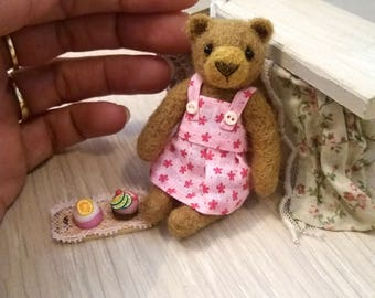 Chloe Cupcake  Bear - kawaii, small bear,artist bear, miniature bear, vintage bear, dollhouse bear, tiny bear, art bear, teddy bear, Blythe