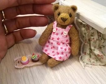 Chloe Cupcake  Bear - kawaii, small bear,artist bear, miniature bear, vintage bear, dollhouse bear, tiny bear, art bear, teddy bear, Blythe