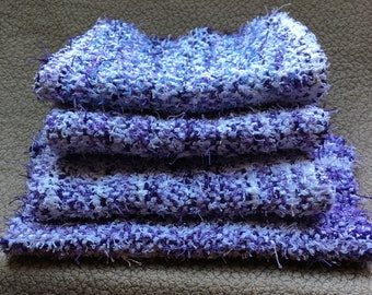 Handwoven exfoliating 100% scrubby cotton wash cloths purple and white