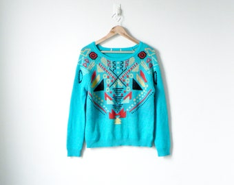 80s Abstract Geometric Patterned Sweater - 80s Sweater Vintage Sweater 80s Clothing - Tribal Sweater - 80s Neon Sweater - Women's M