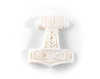 WINDALF pendant ~ MJÖLNIR ~ h: 3.4 cm - Thorshammer - made of bone (p32)