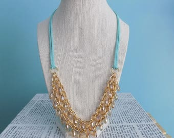 Layered Crystal Necklace on Chain and  Microsuede