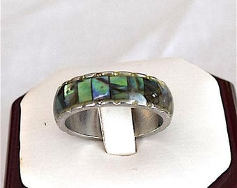 Summer Sale Hawaiian Stainless Steel Ring With Abalone Mother of Pearl