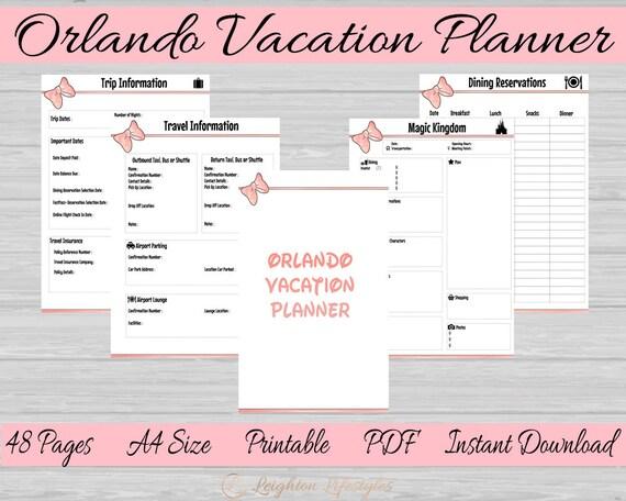 Orlando Vacation Printable Plannerdisney World Planner