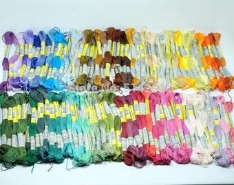 100% Cotton X 100pcs random different colors  Embroidery Thread 8m per Floss Skein for Cross Stitch  Similar DMC