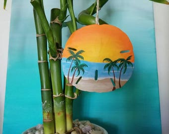 Golden Sunset Sand Dollar Ornament
