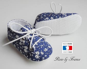 Non slip baby booties in blue liberty