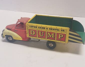 Rare Vintage Antique  Tin toy Litho Friction Dump Truck,  Lupor  Made in U.S.A.