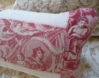 Antique French fabric pillow antique toile de jouy madder red hand loomed French linen hand stiched pillow.