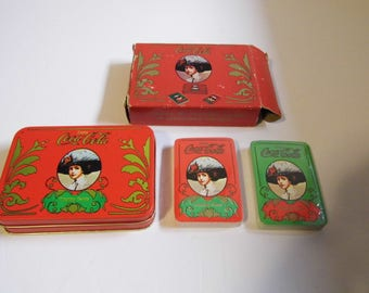 NeW Vintage Coca Cola 2 decks Playing cards with Tin in box - See Shop for MORE VTG & Coke items! Shipping Discounted w/another Item :)