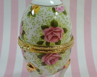 Rose EGG pink/yellow roses with gold gilt Trinket dish/FORMALITIES Baum Bros. China