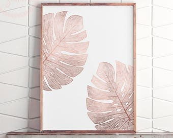 Pink Gold Modern Art, Printable Rose Gold Wall Art, Minimalist Large Art, Pink Gold Bedroom Art, Rose Gold Print Art, Rose Gold Poster Art