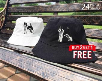 Schnauzer1 Dog Embroidered Bucket Hat by 24PlanetsStudio