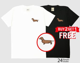 Dachshund Dog Embroidered T-Shirt by 24PlanetsStudio