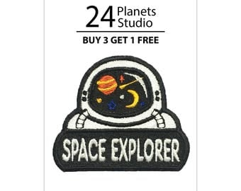 Astronaut Space Explorer Iron on Patch by 24PlanetsStudio