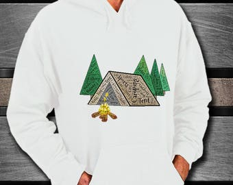 CAMPING TENT CAMPFIRE Hoodie! Hunt Camp Fish Sweatshirt Gift Warm Soft Outdoor Lover Gift Different Images on Back and Front Images