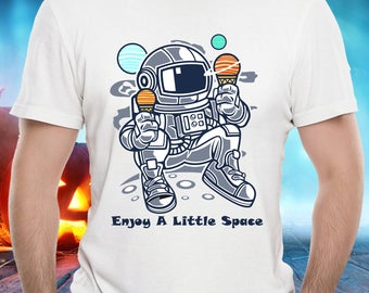 ASTRONAUT PLANETS TSHIRT! Space Sci-Fi Travel Science Lover Planetary Ice Cream Cone Cartoon Funny Tee is a Cool and Wearable Treasure Tee!