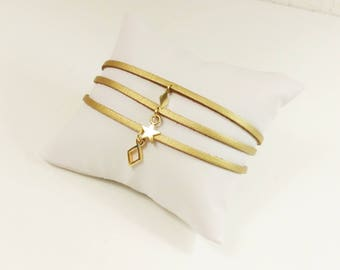 Golden copper strappy suede bracelet