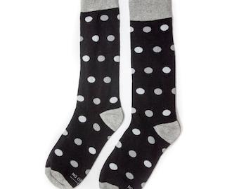 Groomsmen Black, Grey and White Polka Dot Socks/Wedding Day Socks/Groomsmen Gifts