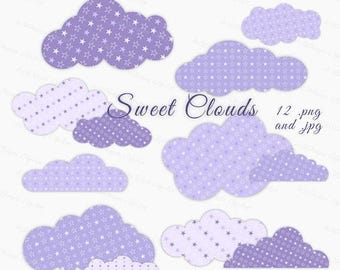 Sale 30% Purple Baby Clouds Clip Art, Baby Shower Cloud, Lavender Baby Clouds Clipart, Clouds Overlay, Purple Overlay, Clouds Clipart
