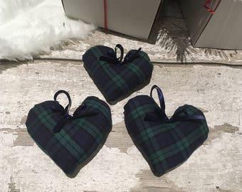 3 Blue Tartan Christmas Hearts Tree Decorations