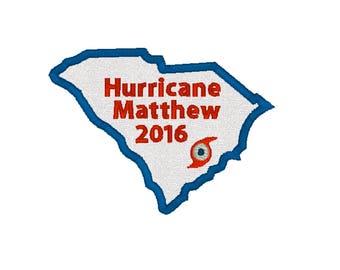 Hurricane South Carolina 2016, Hurricane Matthew, Matthew Patch, South Carolina Patch, Matthew Applique, Hurricane Patch, Iron On Patch