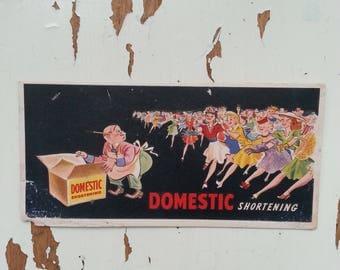 Vintage Domestic Shortening advertising card paper ephemera farmhouse display scrapbooking baking cooking kitchen