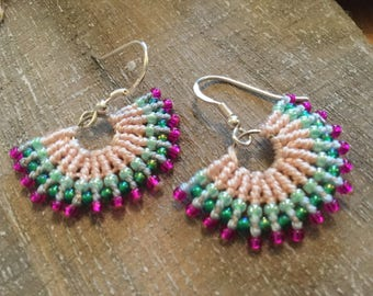 Beautiful fiesta fan micro macrame earrings , yoga jewellry, micro macrame, festival jewellry,
