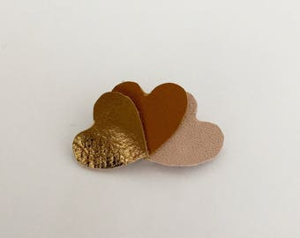 Leather brooch 3 hearts