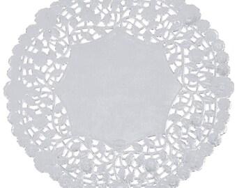 """8"""" 100PCS Silver Foil Lace Doily, Paper Doilies, Doily, Lace Doily, Lace Doilies, Foil Doilies, Silver Lace Doily, Silver Foil Doilies, Foil"""