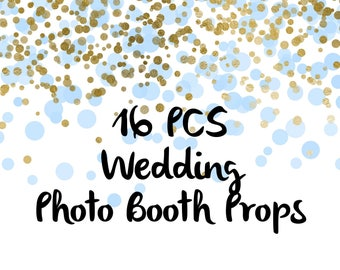16PCS Chalkboard Style Just Married Photo Booth Props, Party Props, Photo Booth Props, Party Supply, Party Decor, Photo props, Wedding Props