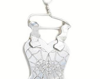 Silver Corset - corset pendant - silver clothes - silver pendant - unique gift - pendant - gift for women - free ship to UK