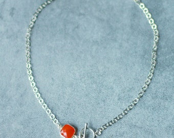 Carnelian and sterling silver neck Choker