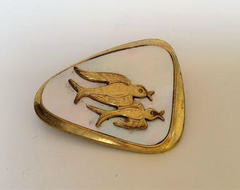 lovely original 50this vintage brooch W.Germany mother-of-Pearl swallows