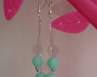 Neon Green beads earrings