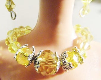 Brilliant yellow crystal Barbie necklace and earring jewelry accessory set.  Handmade by Nims